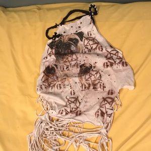 Vintage custom 666 pug distressed shirt size M